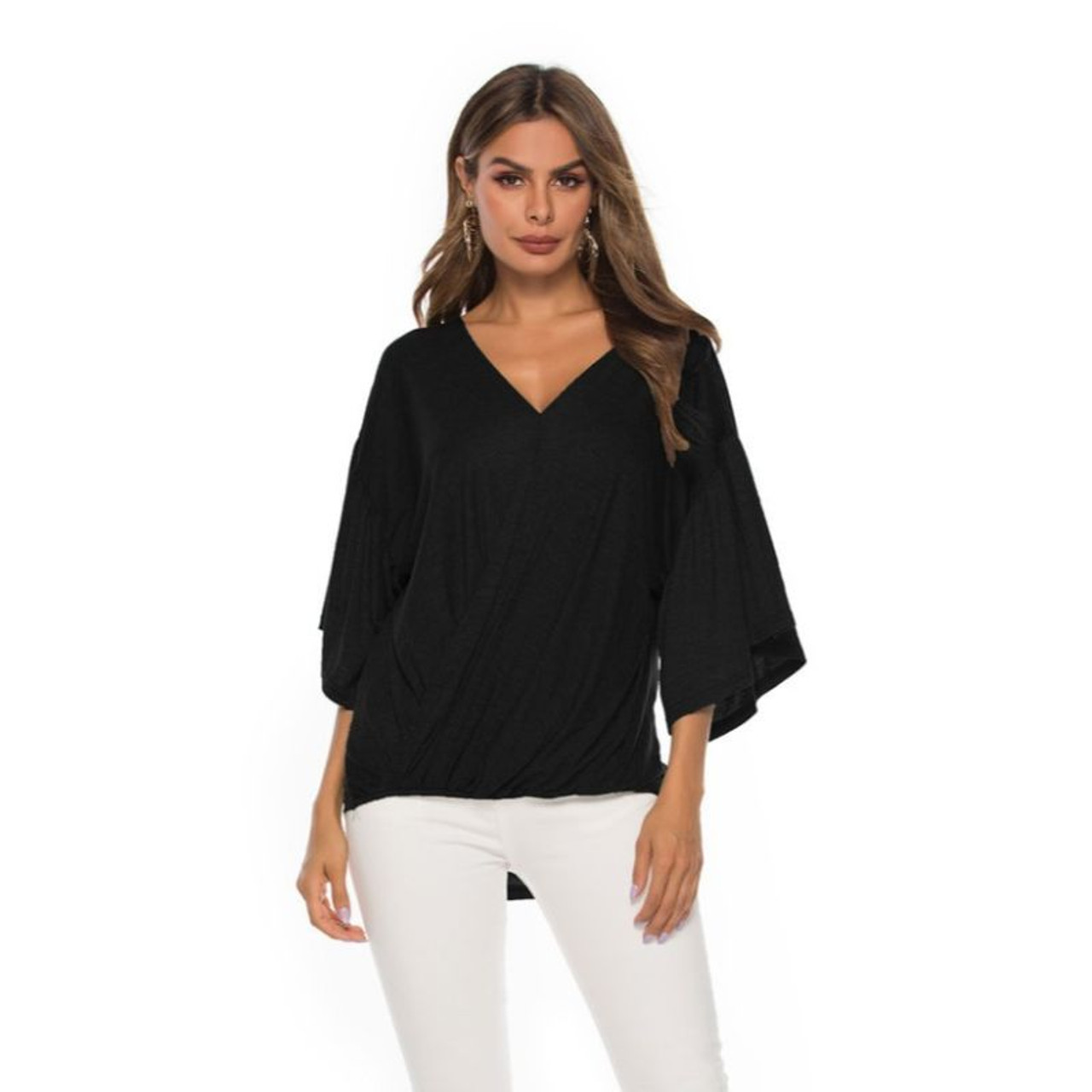 Women's Bell Sleeve Front Cross Over Top by Lilly Posh