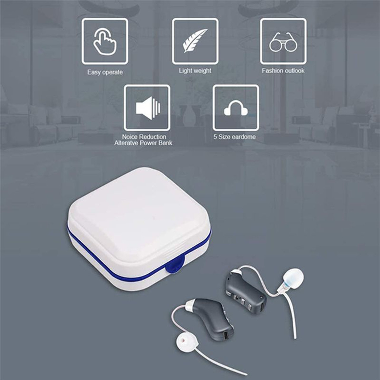 Personal Digital Rechargeable Water Resistant Hearing Amplifier for Adults and Seniors