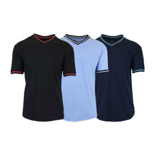 Men's Short Sleeve Egyptian Cotton V-Neck Tees with Trim - 3 Pack
