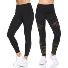 Women's Active High Waist 7/8 Leggings With Motto Mesh And Pockets - 2 Pack