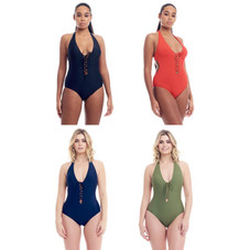 Cover Girl Women's Front Lace-Up design One-Piece Swimsuit