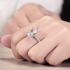 7.00 CTTW Oval Cut Engagement Ring in White Gold