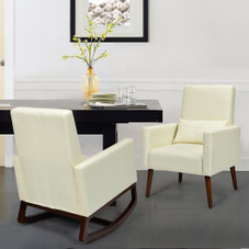 2-in-1 Fabric Upholstered Rocking Chair with Pillow