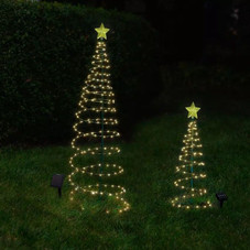 Outdoor Solar Powered LED Metal Christmas Tree Lawn Decoration - 3.8'