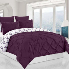ESY Premium Reversible Pintuck Duvet Cover and Bed Shams - 3 Piece Set