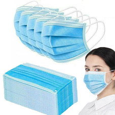 3-Ply Disposable Sanitary Surgical Earloop Face Mask Lot - 50 Pack