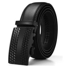Barbados Men's Leather Belt with Solid Buckle and Automatic Ratchet