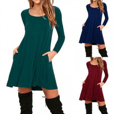 Stylish Full Sleeve Dress with Pockets - 4 Colors