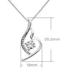 Mother and Son Forever Love - Pave Heart Necklace Made with Swarovski Crystals