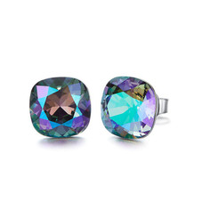 Changing Stone Color Aurora Sqaure Stud Earrings Made with Swarovski Crystals