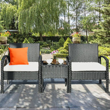 Rattan Patio Furniture - 2 Cushioned Chairs With Garden Table