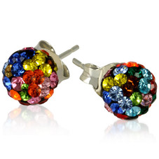 2 CT Crystal Ball Studs - Variety of Colors