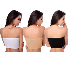 Women's Seamless Padded Strapless Bandeau Crop Tube Top - 3 or 6 Pack
