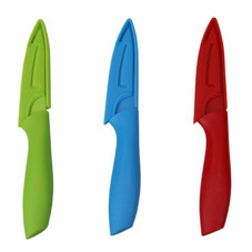 """3.5"""" Stainless Steel Paring Knife with Matching Protective Knife Cover - 3 Pack"""