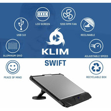KLIM Swift Laptop Cooler Pad Stand for PC and Mac all sizes - Black and Aluminum