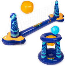 Inflatable Pool Float Volleyball Net and Basketball Hoop