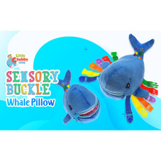 Little Chubby One Sensory Buckle Whale Pillow - Educational Toy Develops Motor Skills, 3+