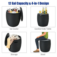 12 Gallon 4-in-1 Plastic Rattan Cooler, Side Table, Ottoman, Storage Box with Lid