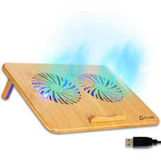 """KLIM Bamboo Wood 10"""" to 15.6"""" Laptop Cooling pad with USB Port and Adjustable Fan Speed"""