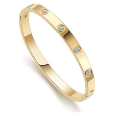 Women's Love and Friendship Gold or Rose Gold Bangle Bracelet with Cubic Zirconias