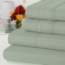 Bamboo Comfort 4 Piece Bed Sheet Set - 3 Embroidered Line, 1800 Thread Count