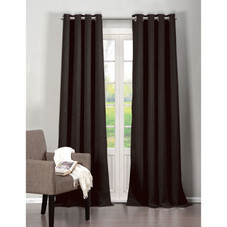 Solid Textured Heavy Blackout Grommet Window Pair Panel Curtains - Set of 2