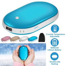Portable Hand and Pocket Warmer, Rechargeable 5000mAh Power Bank, 2 Sides