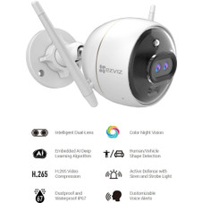 EZVIZ C3X 1080p Outdoor Wi-Fi Bullet Camera with Color Night Vision & Built-In AI