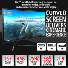 Deco Gear 35 Curved Ultrawide LED Gaming Monitor Full HD Display 21:9 2560x1080