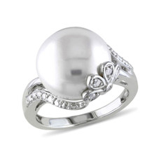 Women's Cultured Freshwater 12-12.5mm White Pearl Sterling Silver Ring with Diamonds