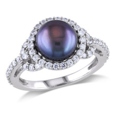 Women's 8.5-9mm Black Cultured Freshwater Pearl and Cubic Zirconia Ring in Sterling Silver