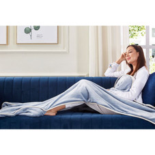 """Cozy Tyme Alyson Reversible Sherpa Blanket with Foot Pocket - 28"""" x 70"""""""