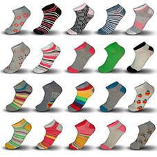 20 Pair Mystery Deal: Women's Breathable Colorful No Show Low Cut Ankle Socks