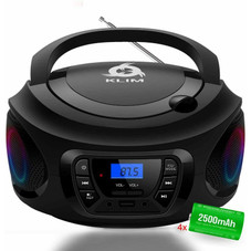 KLIM CD Boombox Portable Stereo, FM Radio, Rechargeable, Bluetooth, MP3, AUX
