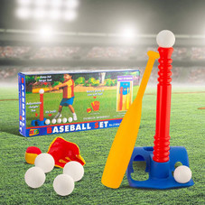 Tee-Ball Sport Set - 6 Balls and 1 Soft Ball with Bat and Glove in Carry Case