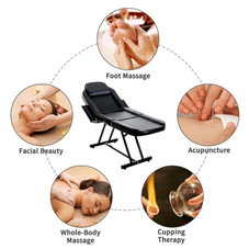 73'' Convertible Massage Table with Stool and Adjustable Removable Headrest