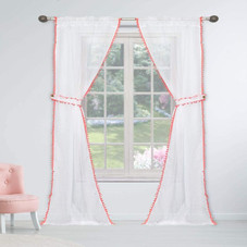 """Solid Semi-Sheer 84"""" x 38"""" Curtain Panels with Rod Pockets and Pom Pom Tie Backs - 2 Pack"""