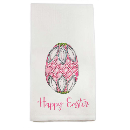 Fab Egg Pink with Happy Easter Dishtowel