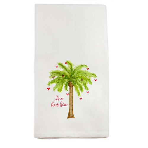 Palm Tree with Hearts Dishtowel