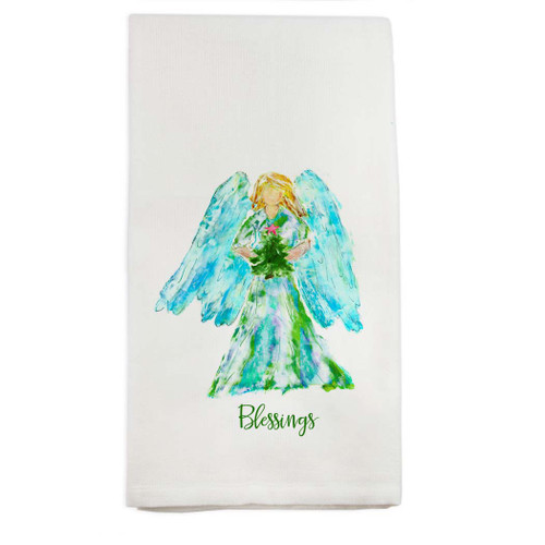 Angel Watercolor with Tree Blessings Dishtowel
