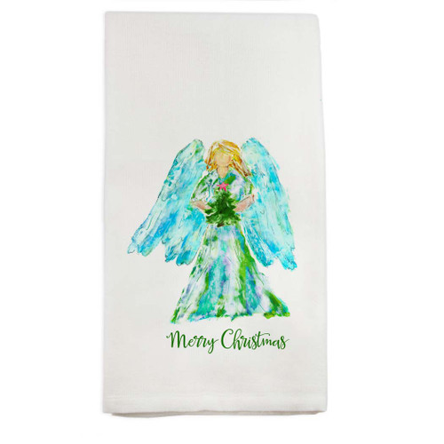 Angel Watercolor with Tree and Star Dishtowel