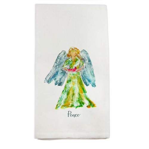 Angel Watercolor with Bird and Peace Dishtowel