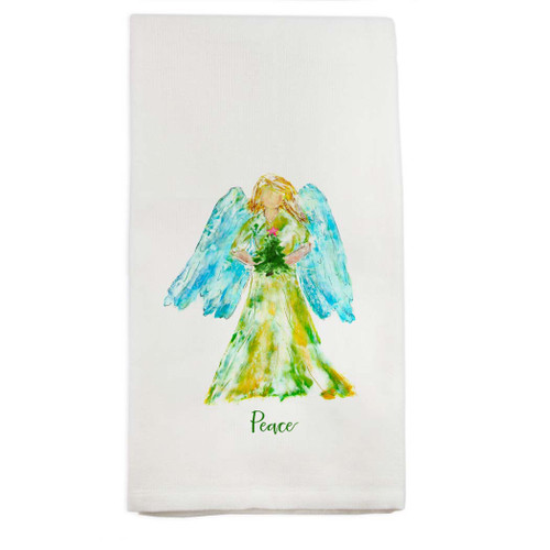Angel Watercolor with Tree Star and Peace Dishtowel