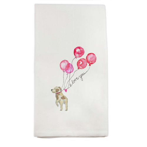 Dog with Balloons Dishtowel