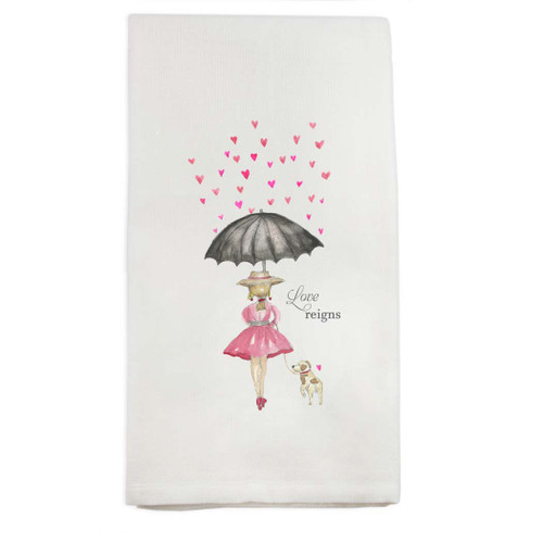 Girl with Umbrella Dishtowel