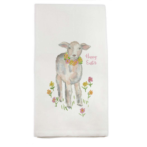 Lamb with Flowers Dishtowel