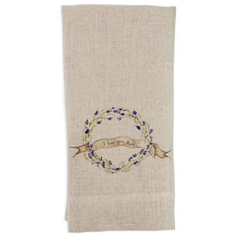 Lavender Wreath I Love You Mom Guest Towel