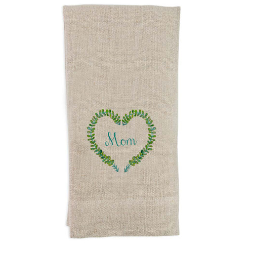 Green Wreath Heart with Mom Guest Towel