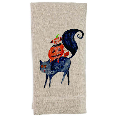 Halloween Cat and Girl Guest Towel