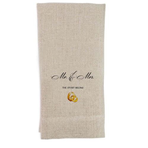 Mr & Mrs with Rings Guest Towel